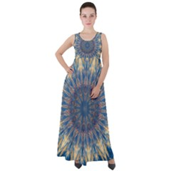 Kaleidoscope Mandala Empire Waist Velour Maxi Dress by AnjaniArt