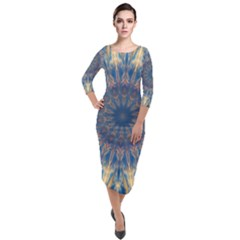 Kaleidoscope Mandala Quarter Sleeve Midi Velour Bodycon Dress by AnjaniArt