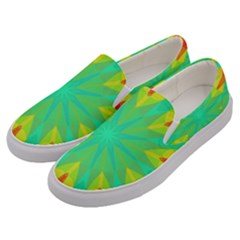Kaleidoscope Mosaic Ornament Men s Canvas Slip Ons by AnjaniArt
