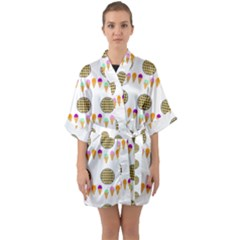 Pizza Ice Cream Party Food Quarter Sleeve Kimono Robe by AnjaniArt