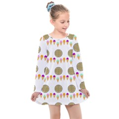 Pizza Ice Cream Party Food Kids  Long Sleeve Dress by AnjaniArt