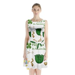 Saint Patricks Day Sleeveless Waist Tie Chiffon Dress
