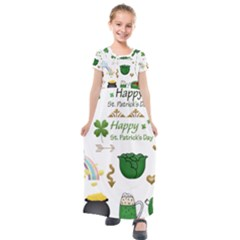 Saint Patricks Day Kids  Short Sleeve Maxi Dress by AnjaniArt