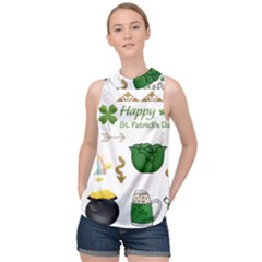 Saint Patricks Day High Neck Satin Top