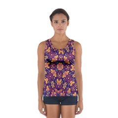 Kaleidoscope Background Design Purple Sport Tank Top  by AnjaniArt