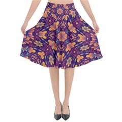 Kaleidoscope Background Design Purple Flared Midi Skirt