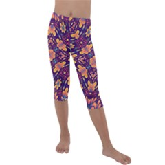 Kaleidoscope Background Design Purple Kids  Lightweight Velour Capri Leggings  by AnjaniArt