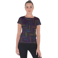 Lines Line Background Short Sleeve Sports Top  by Alisyart