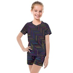Lines Line Background Kids  Mesh Tee And Shorts Set by Alisyart