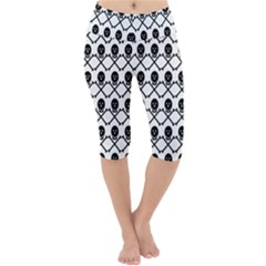 Skull Crossbones Pirate Backdrop Lightweight Velour Cropped Yoga Leggings by Alisyart