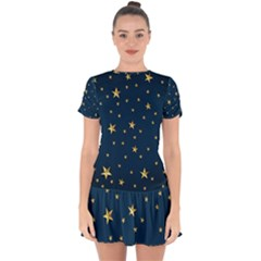Stars Night Sky Background Space Drop Hem Mini Chiffon Dress