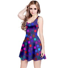 Squares Square Background Abstract Reversible Sleeveless Dress