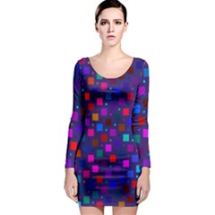 Squares Square Background Abstract Long Sleeve Bodycon Dress