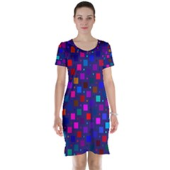 Squares Square Background Abstract Short Sleeve Nightdress