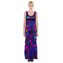 Squares Square Background Abstract Maxi Thigh Split Dress