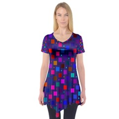 Squares Square Background Abstract Short Sleeve Tunic