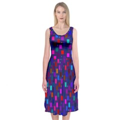 Squares Square Background Abstract Midi Sleeveless Dress