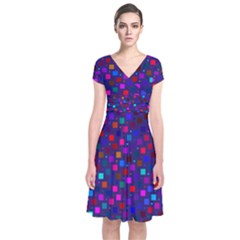 Squares Square Background Abstract Short Sleeve Front Wrap Dress