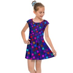 Squares Square Background Abstract Kids  Cap Sleeve Dress