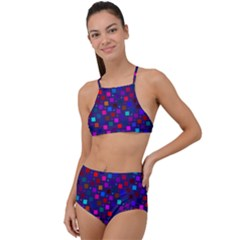 Squares Square Background Abstract High Waist Tankini Set