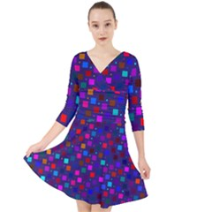 Squares Square Background Abstract Quarter Sleeve Front Wrap Dress