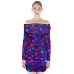 Squares Square Background Abstract Long Sleeve Off Shoulder Dress
