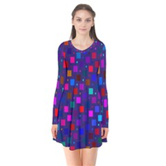Squares Square Background Abstract Long Sleeve V Neck Flare Dress