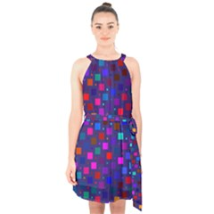 Squares Square Background Abstract Halter Collar Waist Tie Chiffon Dress