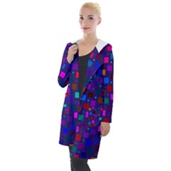 Squares Square Background Abstract Hooded Pocket Cardigan