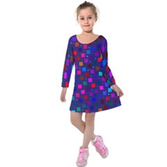 Squares Square Background Abstract Kids  Long Sleeve Velvet Dress