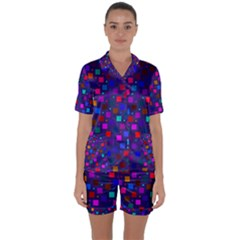Squares Square Background Abstract Satin Short Sleeve Pyjamas Set