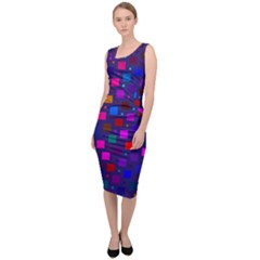 Squares Square Background Abstract Sleeveless Pencil Dress