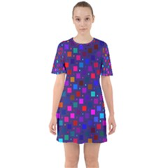 Squares Square Background Abstract Sixties Short Sleeve Mini Dress
