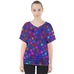 Squares Square Background Abstract V Neck Dolman Drape Top