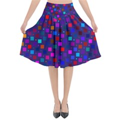 Squares Square Background Abstract Flared Midi Skirt