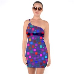 Squares Square Background Abstract One Soulder Bodycon Dress