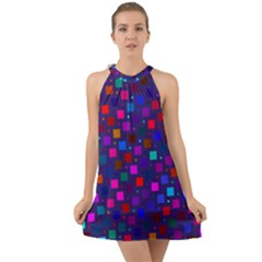 Squares Square Background Abstract Halter Tie Back Chiffon Dress