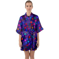 Squares Square Background Abstract Quarter Sleeve Kimono Robe