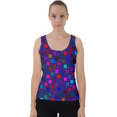 Squares Square Background Abstract Velvet Tank Top