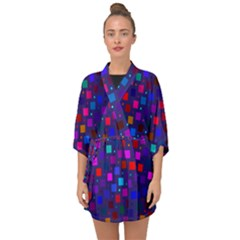 Squares Square Background Abstract Half Sleeve Chiffon Kimono