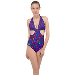 Squares Square Background Abstract Halter Front Plunge Swimsuit