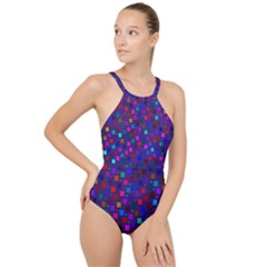 Squares Square Background Abstract High Neck One Piece Swimsuit