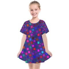 Squares Square Background Abstract Kids  Smock Dress
