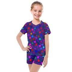 Squares Square Background Abstract Kids  Mesh Tee And Shorts Set by Alisyart