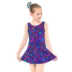 Squares Square Background Abstract Kids  Skater Dress Swimsuit by Alisyart