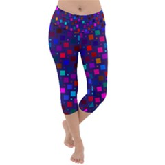 Squares Square Background Abstract Lightweight Velour Capri Yoga Leggings