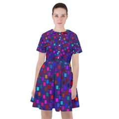 Squares Square Background Abstract Sailor Dress
