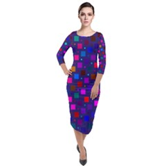 Squares Square Background Abstract Quarter Sleeve Midi Velour Bodycon Dress by Alisyart