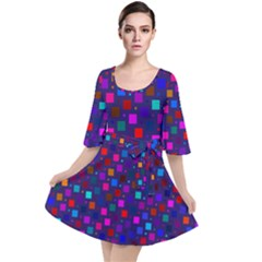 Squares Square Background Abstract Velour Kimono Dress