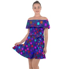 Squares Square Background Abstract Off Shoulder Velour Dress by Alisyart